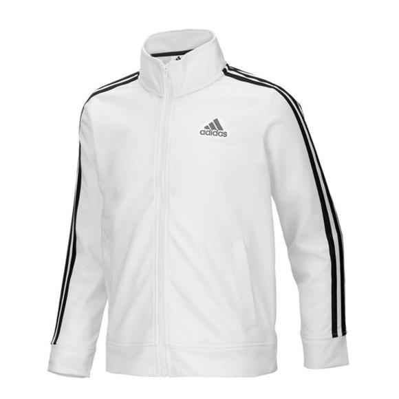 adidas Jackets   Blazers - adidas Jacket Zip Up White with Black Stripes 8e87c9dd6